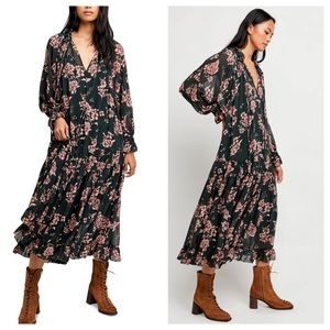 Free People Feeling Groovy Floral Maxi Dress NEW